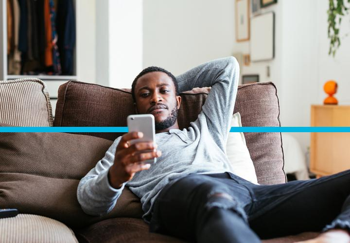 Man relaxing on the couch.